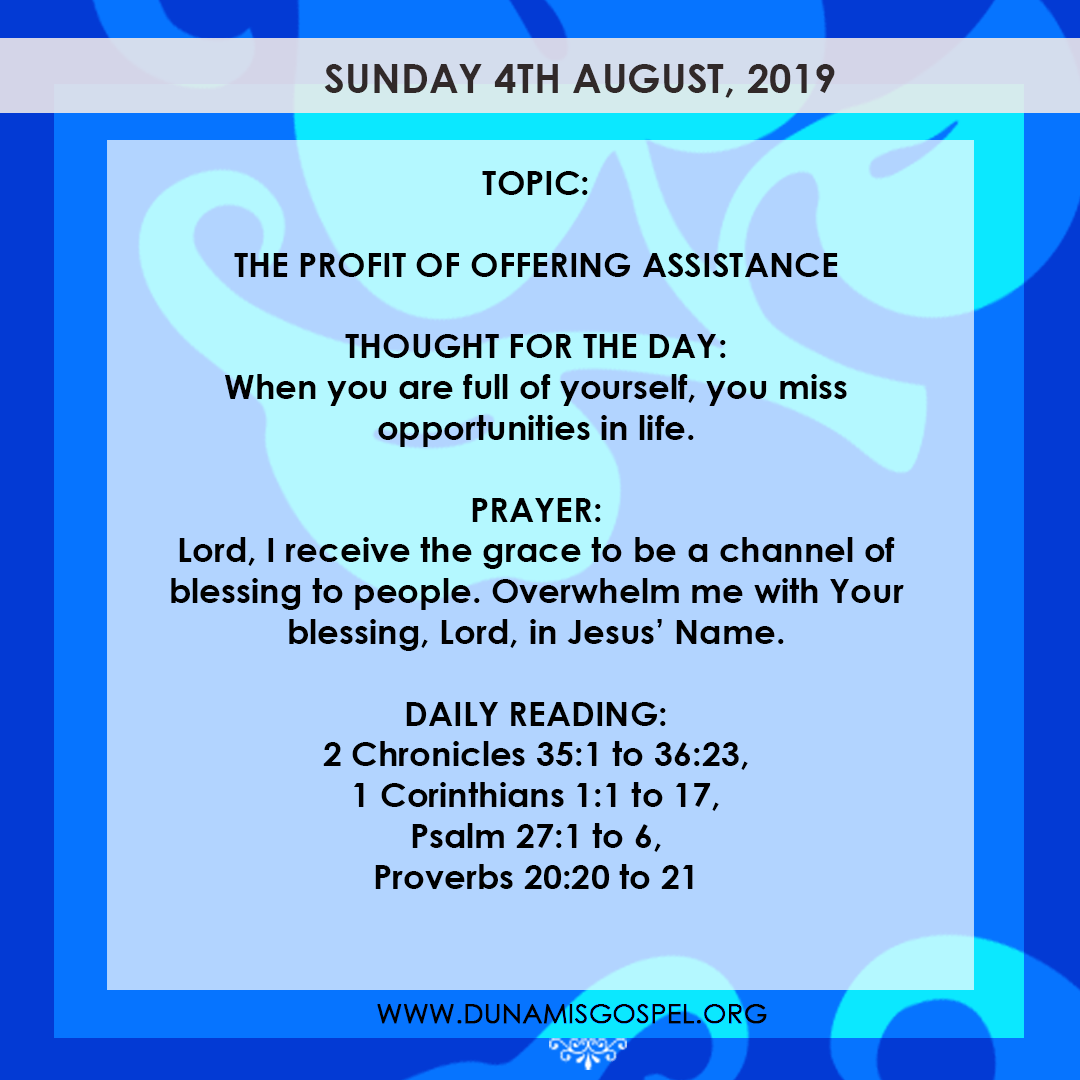 Seeds of Destiny 4 August 2019, Seeds of Destiny 4 August 2019 – The Profit of Offering Assistance