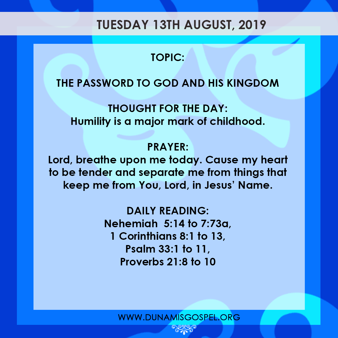 Seeds of Destiny 13 August 2019 - The Password To God And His Kingdom