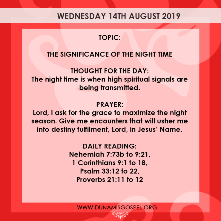 Seeds of Destiny 14 August 2019, Seeds of Destiny 14 August 2019 – The Significance of the Night Time