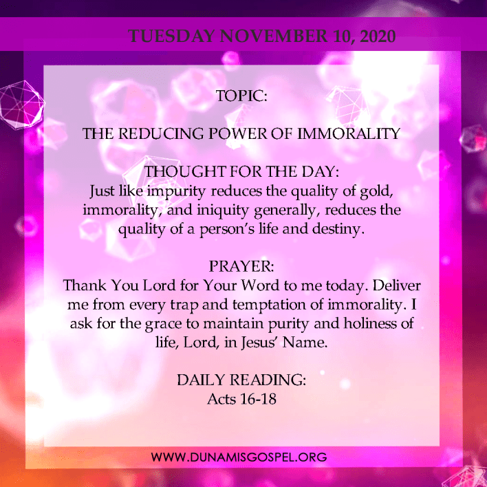 Seeds of Destiny 10th November 2020 - The Reducing Power of Immorality