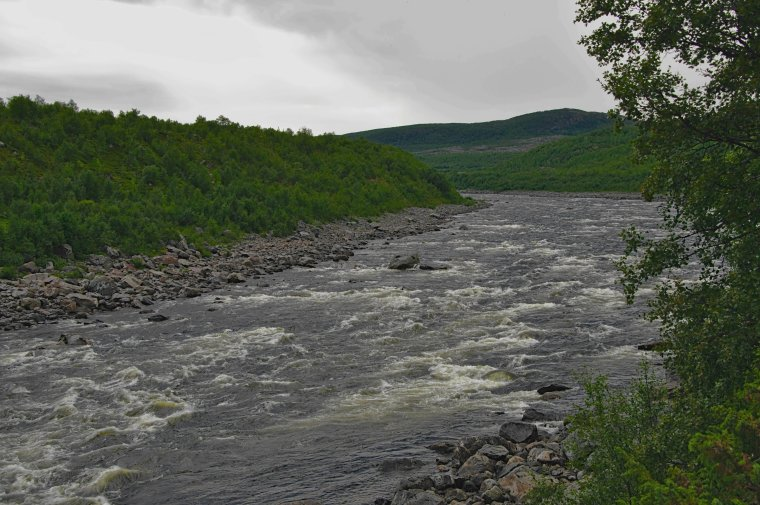 River Karasjohka, border between Finland (lapland on left) and Norway (Troms og Finnmark) on right - ...behind every picture, there is a story...