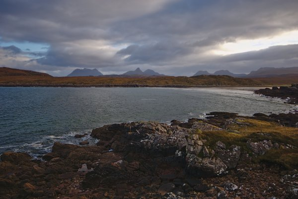 Achnahaird Bay, Rossand Cromarty and the mountains of Assynt, North West Coast Scotland