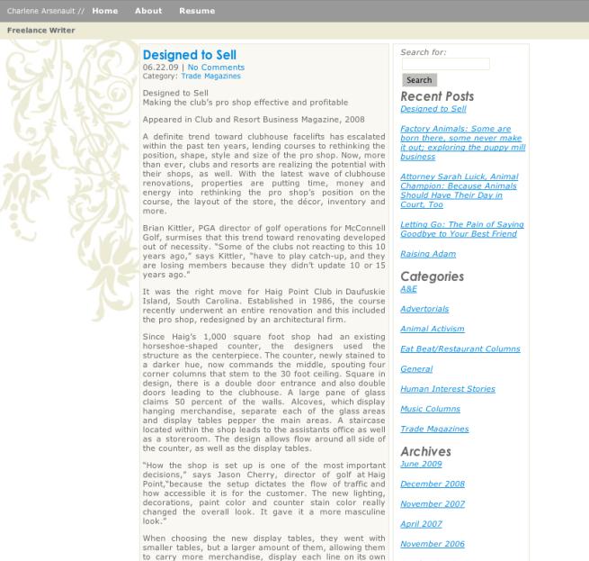 Charlene Arsenault Website
