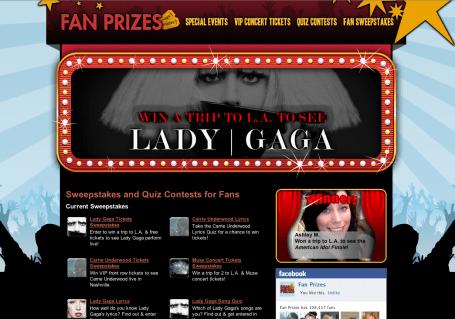 Fan Prizes Lady Gaga Micro Site