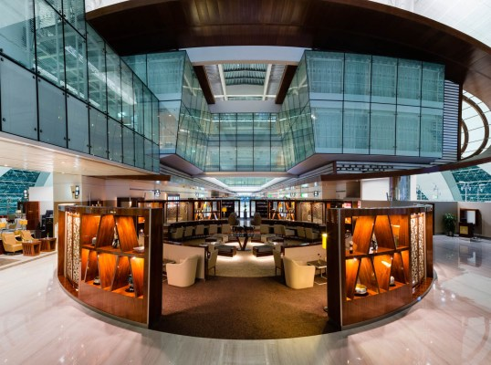 Interior Photograph of Emirates Business Class Lounge, Dubai Airport terminal 3