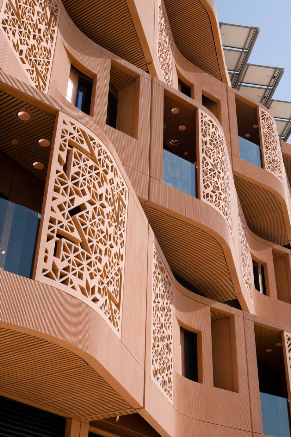 Architectural detailing of the Masdar Instute designed by architects Fosters and Partners. Photographed for the New York Times by photographer, Duncan Chard