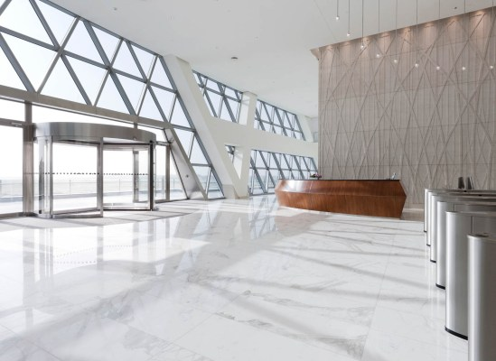 A reception interior photograph of the Aldar headquarters, Abu Dhabi