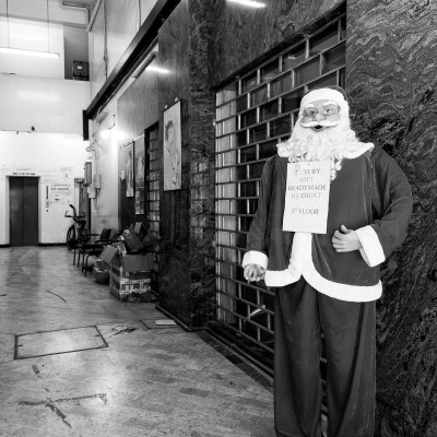 March 2017, a Father Christmas mannequin on display outside a shop in Deria, Dubai