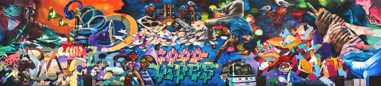 The Graffiti Wall at the MAD nightclub on Yas Island, Abu Dhabi