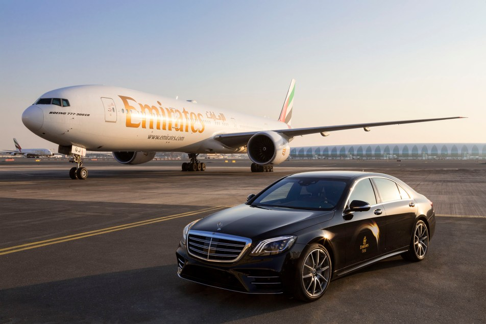 Emirates Mercedes S-Class and Boeing 777