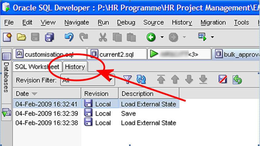 SQL Developer History Tab