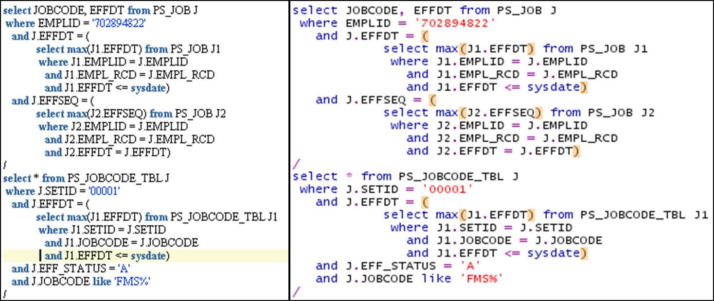 SqlDeveloper Syntax Highlighting