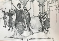 Griselda Cann Mussett: Street sketch, concert under the Guildhall (2020)