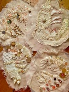 Nicola Flower and Daisy Farris 'Shrimpers and Mudlarks' Embroidered shrimps