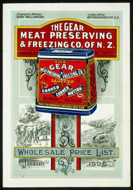 Gear_Meat_Preserving_and_Freezing_Company_of_New_Zealand_Ltd_-Wholesale_price_list,_January_1906._(and)_Gear_corned_beef_(ca_1900-)_(21613931926) (1)