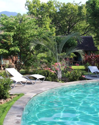 Pool of the Hotel Dune Alaya Yoga near Pemutaran in the North west of Bali Island in Indonésia