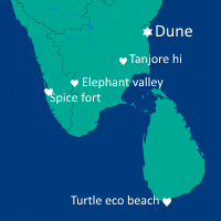 Map of the dune wellness group hotels settlements oin India and Sri-lanka