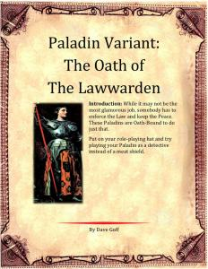 D&D 5E Paladin Variant - Lawwarden