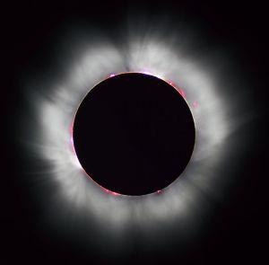 Korona Matahari terlihat ketika gerhana Matahari total (Sumber: wikipedia)