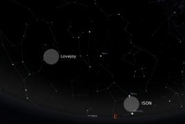 Ilustrasi langit timur jelang fajar. Komet ISON terletak di antara Merkurius dan Spica, komet Lovejoy di antara Leo dan Ursa Major.