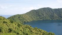 View of Satonda Island in Indonesia from crater rim