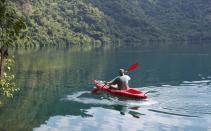 Kayaking on Satonda Island crater lake in Indonesia