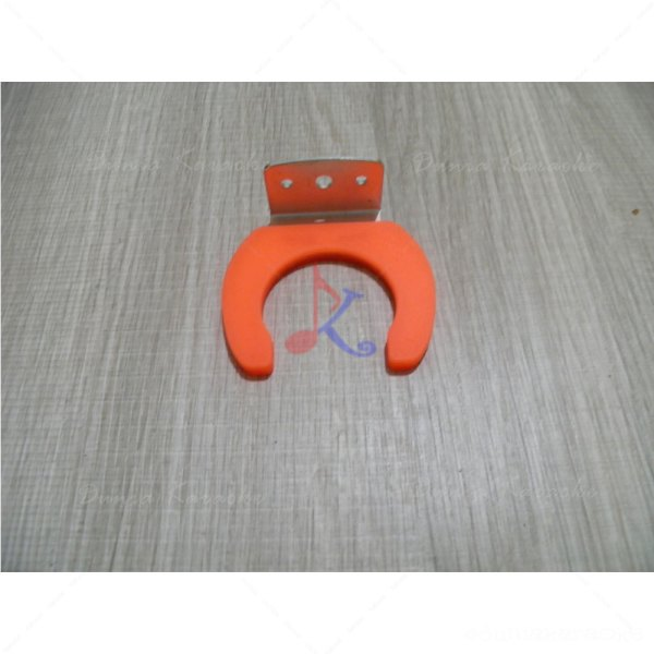 Microphone Hook Holder Orange Type Wall Mount Clip Clamp Metal and Rubber 45 mm