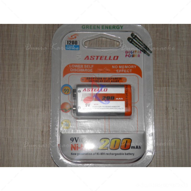 Baterai Kotak 9V Astello 200 mAh Ni-MH Rechargeable Battery