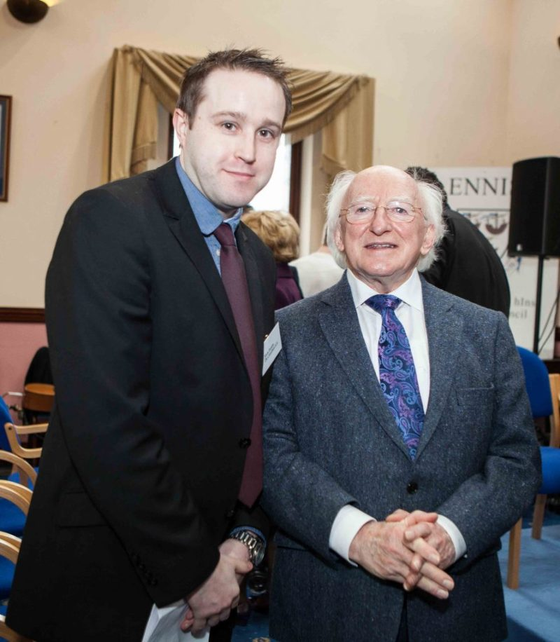 Mark Dunphy of Dunphy Communications pictured with President of Ireland Michael D. Higgins during a Civic Reception for the Ballycar, Clare, native.