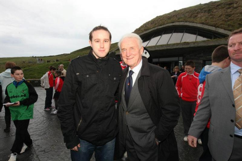 Mark Dunphy of Dunphy Communications pictured with former Republic of Ireland Manager Giovanni Trapattoni at the Cliffs of Moher Visitor Experience