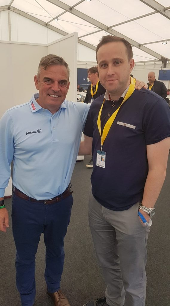 Mark Dunphy of Dunphy Communications pictured with Paul McGinley during the Dubai Irish Open at Lahinch