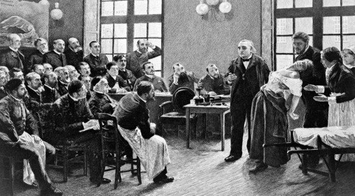 Jean-Martin Charcot demonstrating hysteria in a patient in 1887, from The Institute of Sexology.