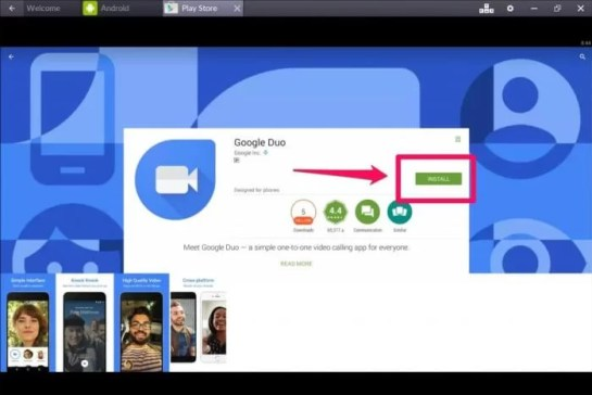 Google Duo for Mac using Bluestacks