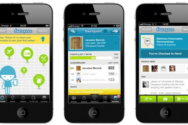 Foursquare serwis geolokalizacyjny turystyka mayor meldunek check in odznaka badge smartfon