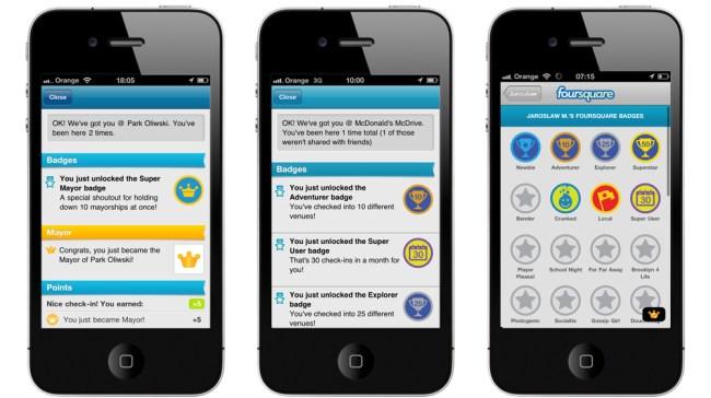 Zdobywaj odznaki (badges) za meldunki w miejscach na Foursquare