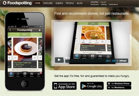Foodspotting kulinarne rekomendacje turystyka potraw jedzenia restauracji aplikacja smartfon