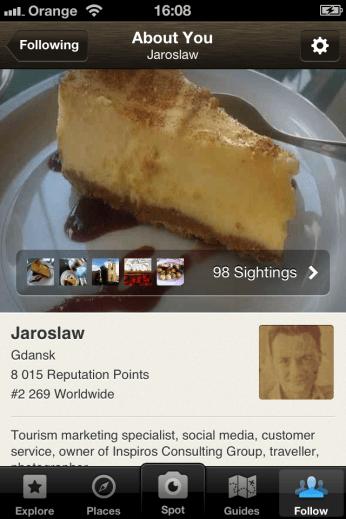 Kulinarna aplikacja Foodspotting - zrzut ekranu smartfona iPhone