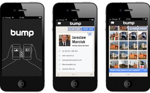 Bump aplikacja smartfon iphone apple android wirtualne wizytowki