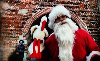 Bocian, który został w Polsce. Bocian w Lublinie spotkał Świętego Mikołaja podczas Jarmarku Bożonarodzeniowego