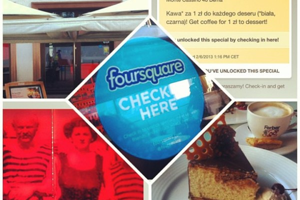 Kawa za darmo za check-in na Foursquare w Cafe Ferber