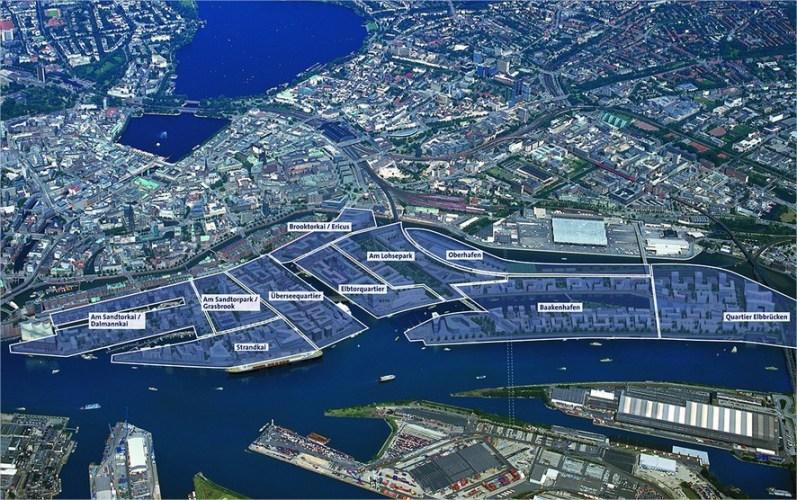 Plan nowej dzielnicy HafenCity z podziałem na kwartały