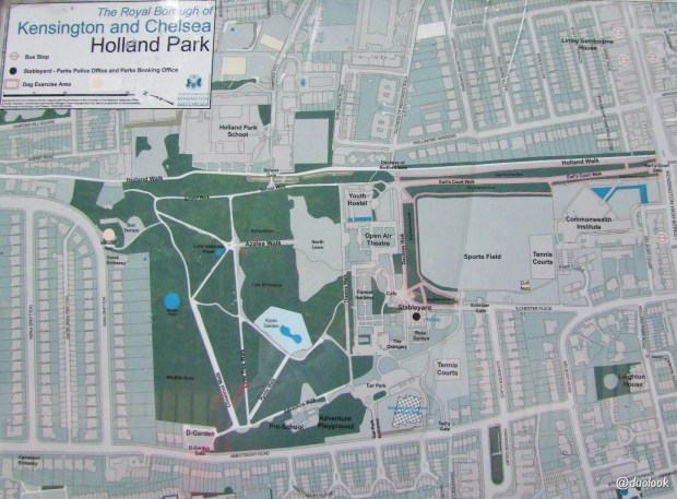 Mapa Holland Park Kensington Londyn