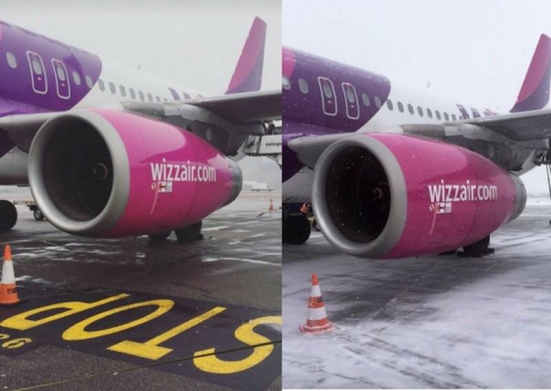 Samolot Wizzair na lotnisku w Luton i Gdańsku.