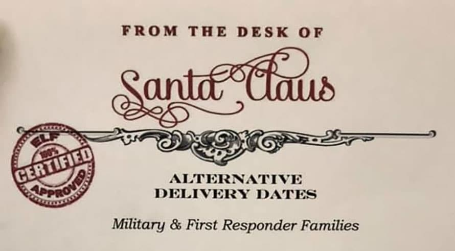santa letter for military and first responders families