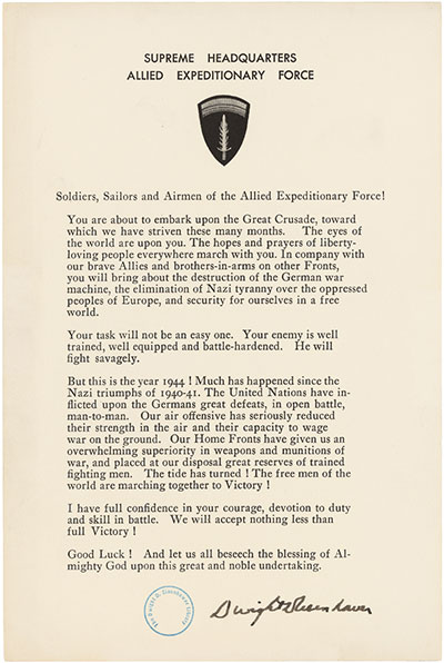 General Dwight D. Eisenhower Order of the Day D-day 1944