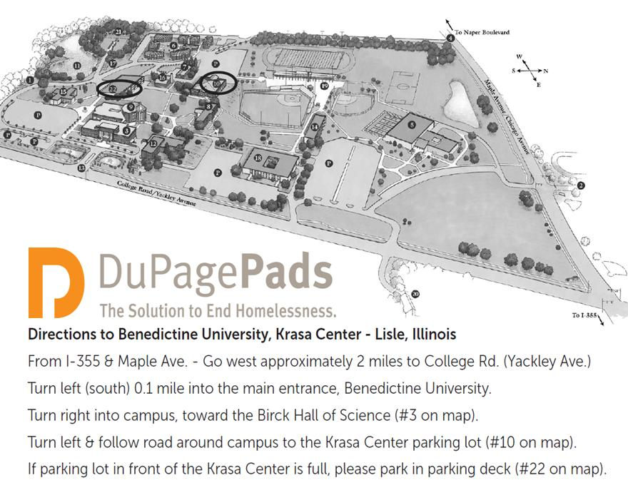 Directions to Benedictine University for DuPagePads Wake Up Your Spirit Breakfast