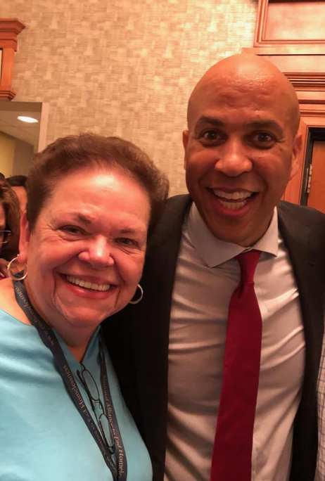 Carol Simler with Senator Cory Booker