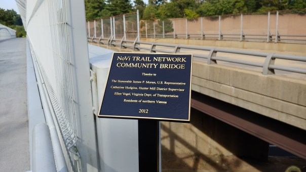 Plaque at Wolf Trap Pedestrian Bridge