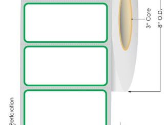 Green border thermal transfer label roll