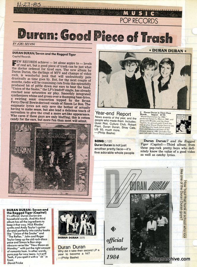 Ragged Tiger reviews & clippings (1983)